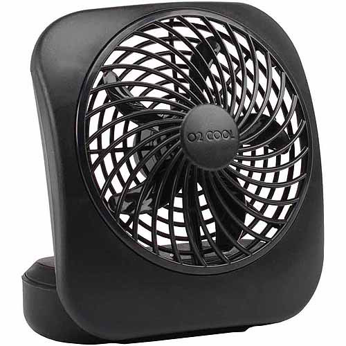 "O2Cool 5"" Battery-Operated Fan, Black"