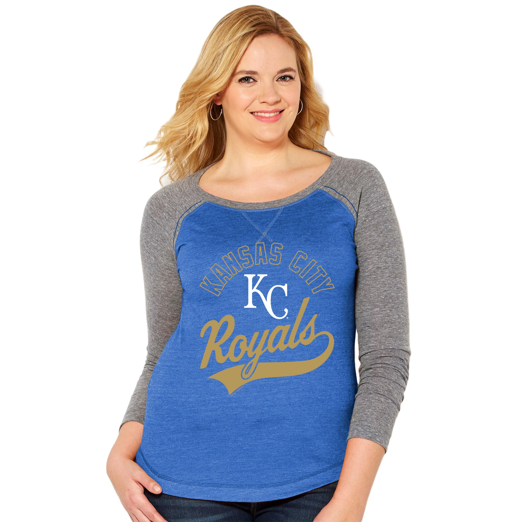 Kansas City Royals Soft As A Grape Women's Plus Size Ballpark Baseball Long Sleeve T-Shirt - Royal