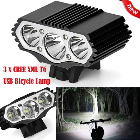 DZT196812000 Lm 3 x XML T6 LED 3 Modes Bicycle Lamp Bike Light Headlight Cycling Torch
