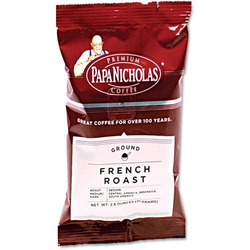 PapaNicholas Coffee French Roast Ground Coffee, 2.5 oz, 18 count