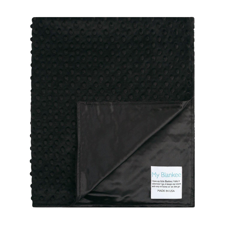 My Blankee Minky Dot Stroller Blanket with Satin Back, Bl...