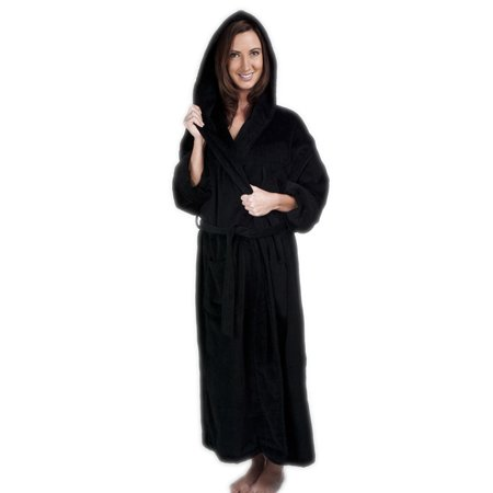 Womens Black Hooded Terry Bathrobe XXXL 3XL Full Length 100% Cotton 52 Inch Length