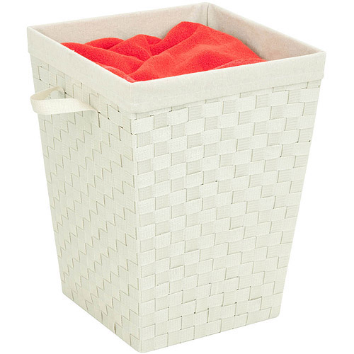 Honey-Can-Do Woven Strap Hamper with Liner, Cream