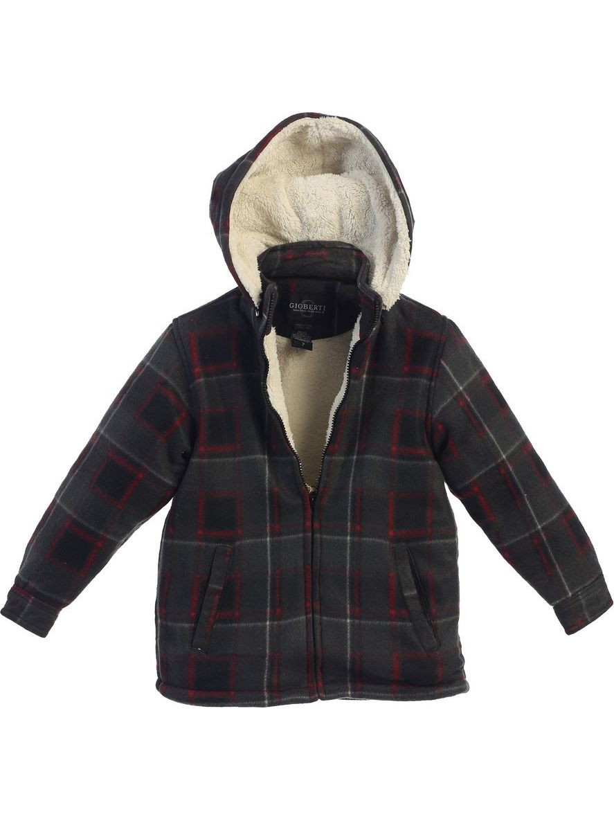 Gioberti Little Boys Red Plaid Sherpa Lined Detachable Hood Flannel Jacket 2T-7