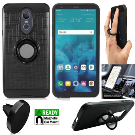 Phone Case For LG Stylo 4 / Straight Talk LG Stylo 4 / Boost Mobile LG Stylo 4 Case / Stylo 4 Plus Case + Magnetic Mount with Rugged Cover Ring-Stand ( Ring-Stand Black-Black TPU/Magnetic Mount) ()