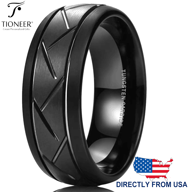 Tungsten Men/'s Band Black Tire Ring