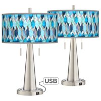 Giclee Glow Blue Tiffany-Style Vicki Brushed Nickel USB Table Lamps Set of 2
