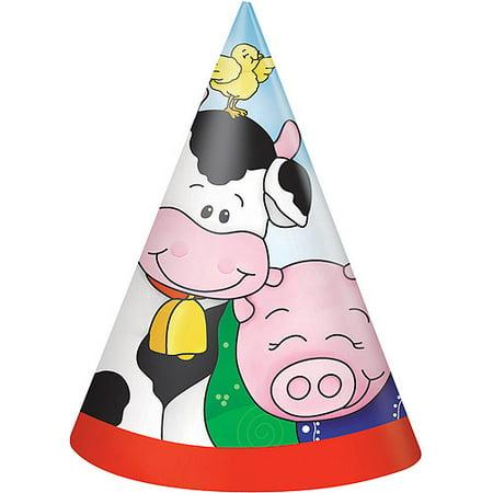 Farm Party Hats 8 Count