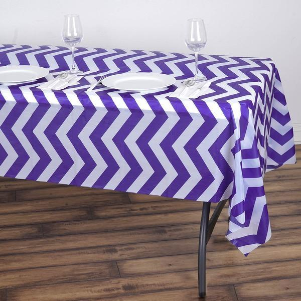 Efavormart 5 Pcs Disposable Chevron Plastic Vinyl Picnic Birthday Party Catering Tablecloth for Kitchen Dining Catering Wedding