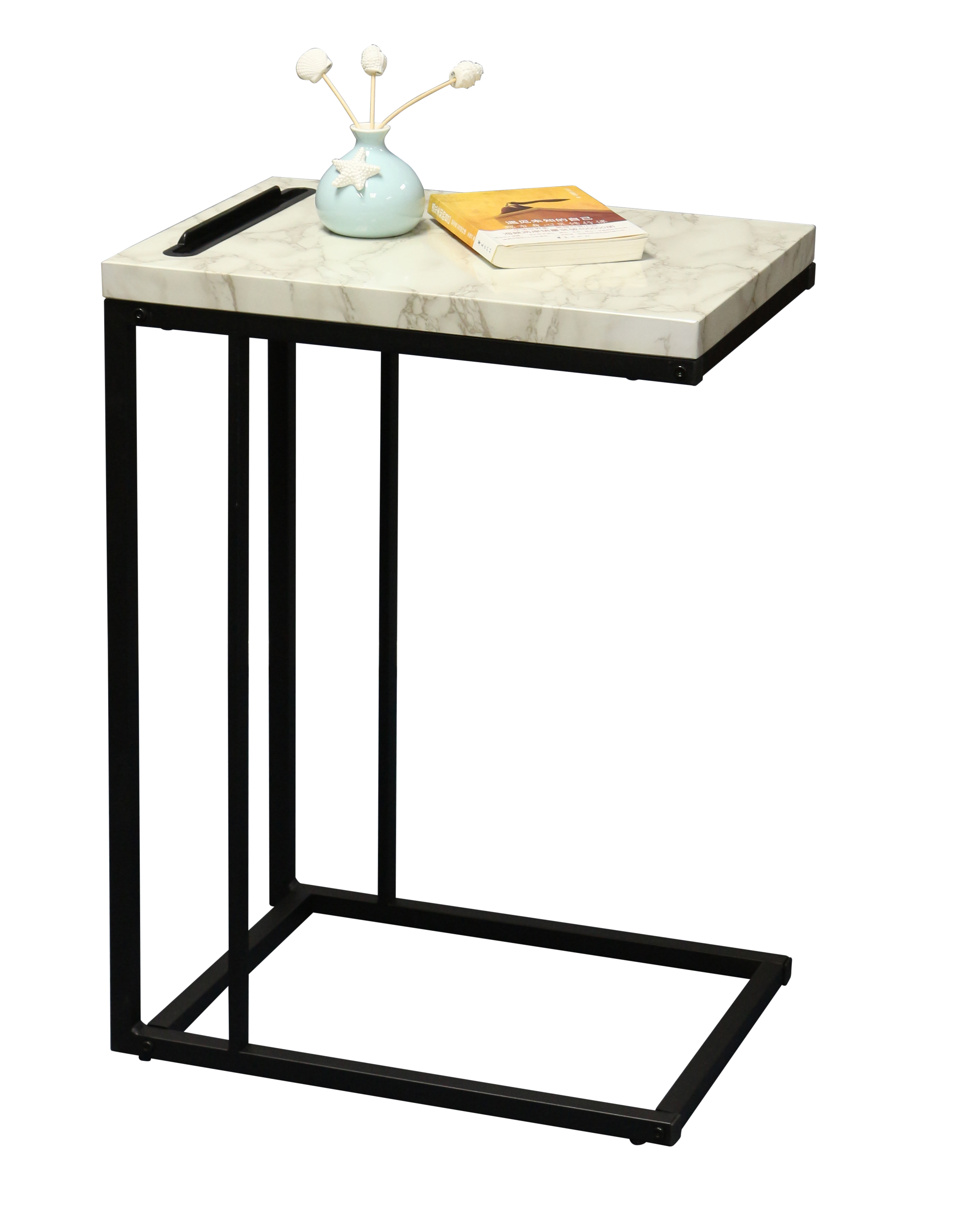Slide Under Sofa Side Table With Faux Marble Top And Iphone Or Ipad Stand Or End Table Walmart Com Walmart Com