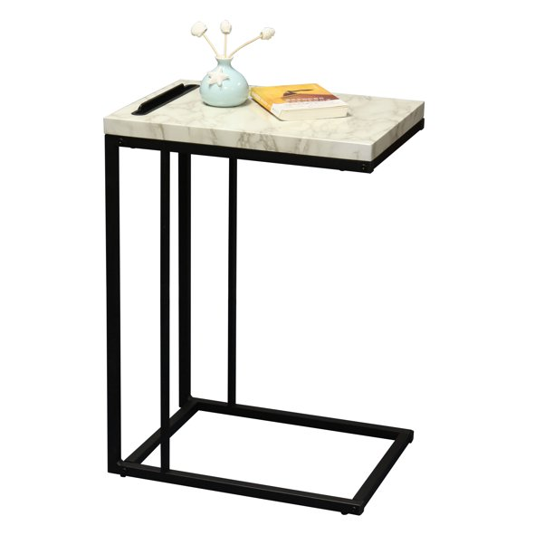 Slide Under Sofa Side Table With Faux