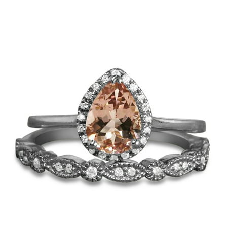 Antique Vintage 1.25 Carat Pear Cut Morganite and Diamon Art Deco Halo Wedding Ring Set for Her in White Gold Antique Art Deco Ring