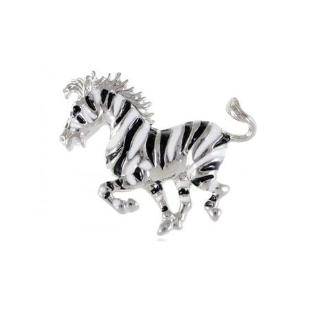 Silver Tone Black White Striped African Zebra Horse Brooch Pin