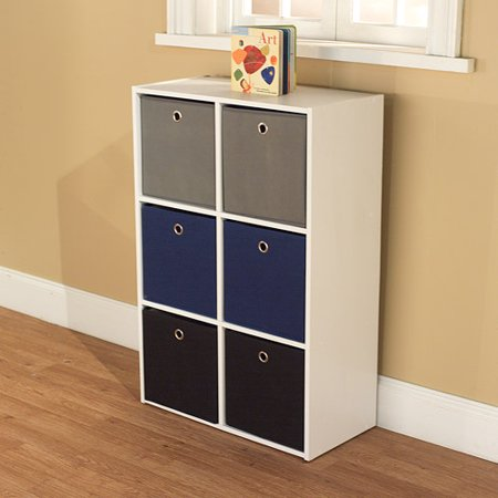 Utility Bookcase Tower with 6 Fabric Bins, Multiple Colors