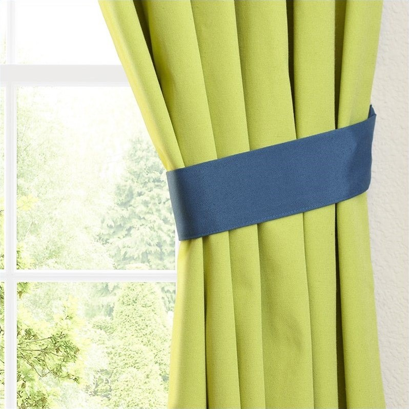 Blazing Needles Twill Curtain Panels in Indigo and Mojito Lime (Set of 2) - image 3 de 4
