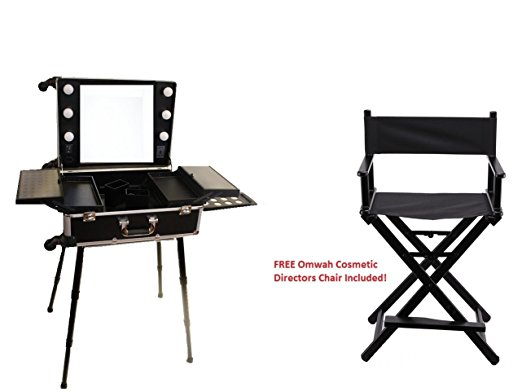 Charmant Professional Rolling Studio To Go Makeup Artist Station Portable Vanity  Trolley Wheels Train Case With LED