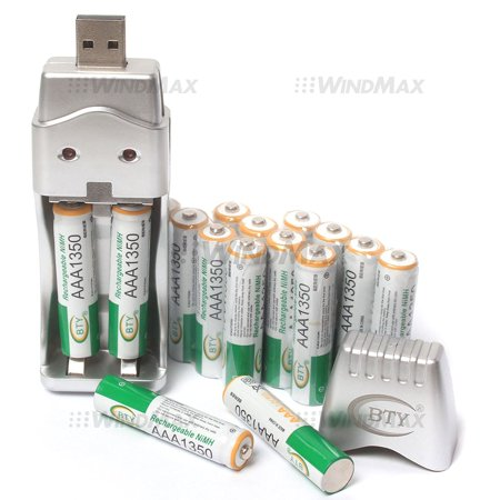 Us Seller 16 X Aaa 3A 1350Mah Rechargeable Home Battery Household Batteries Nimh Ni Mh With Usb Travel Charger For Toys Wireless Phone Remote    By Windmax