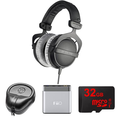 BeyerDynamic Headphones - 80 ohms (DT 770-PRO) with Slappa HardBody Headphone Case, FiiO A1 Port. Headphone Amplifier & 32GB MicroSD High-Speed Memory Card