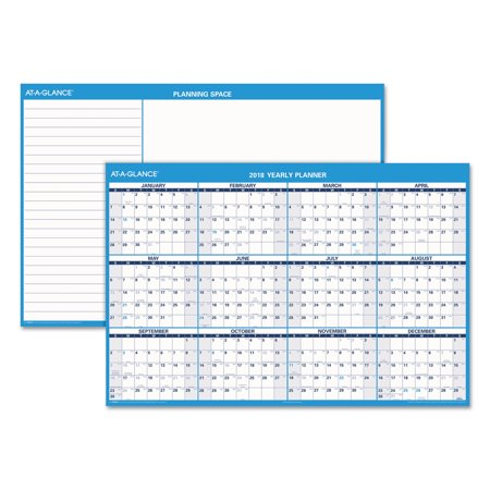 AT-A-GLANCE Horizontal Erasable Wall Planner, 48 x 32, Blue/White, 2018