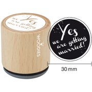 """Woodies Mounted Rubber Stamp 1.35""""-Yes We Are Getting Married"""