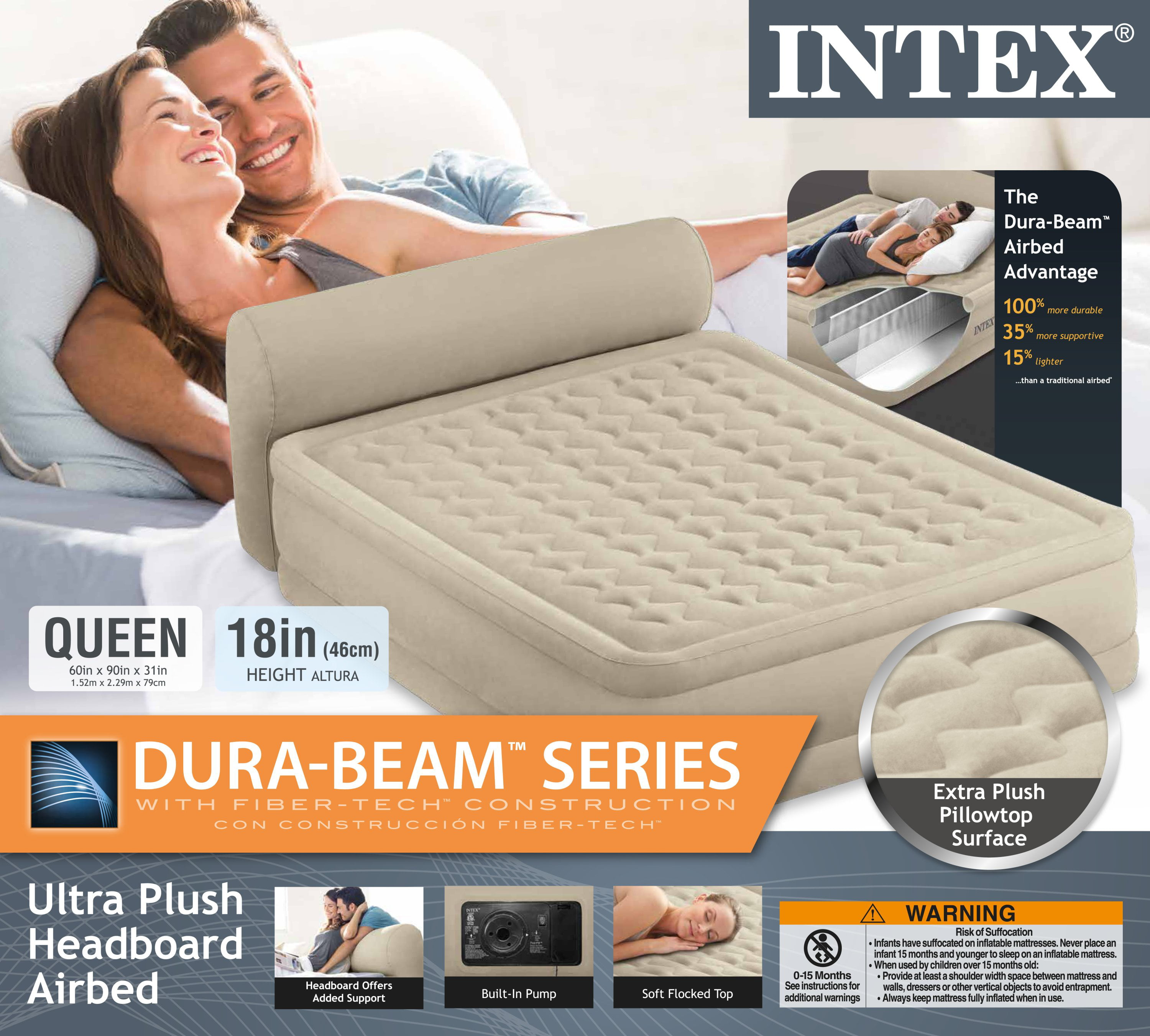 Intex 18 Queen Dura Beam Ultra Plush Headboard Airbed Mattress