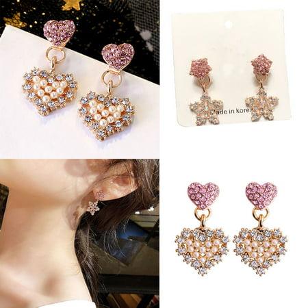 Ustyle 1 Pair Crystal Heart Star Drop Earrings Women Girls Lady 925 Silver Pin Drop Dangle Earrings - image 7 de 9