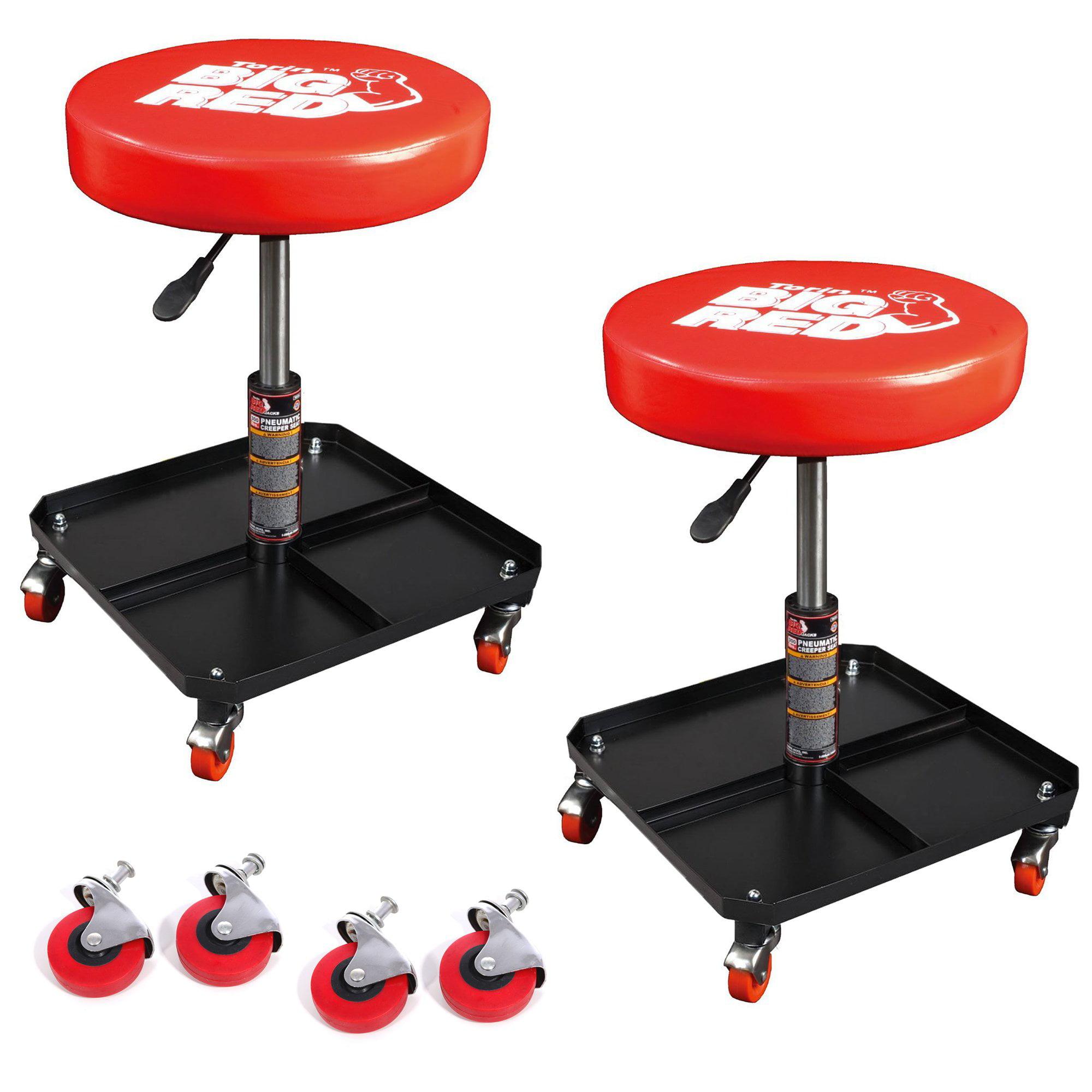 Torin Big Red Pneumatic Creeper Garage Mechanic Padded Stool (2 Pack) & Wheels by Torin