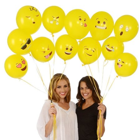 Cute Printed Big Eyes Face Smiley Face Latex Balloons for Party Birthday or Holiday Decoration Style 1 Pack of 10 Multi-color - image 6 of 7
