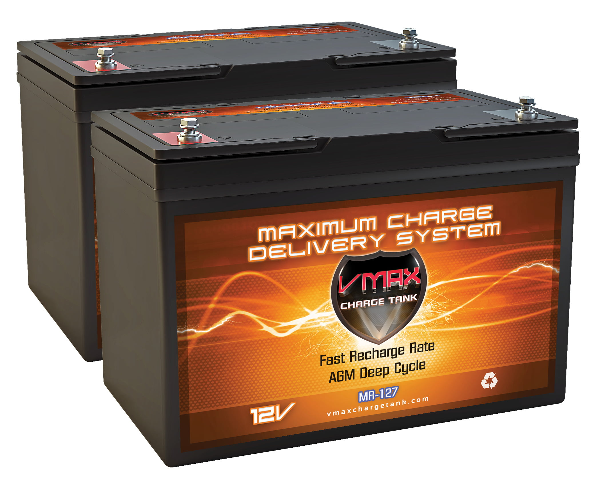 QTY2 VMAX MR127-100 12V 100AH AGM Deep Cycle Group 27 Batteries for Minn Kota Riptide SF 80 Saltwater Bow-Mount 24V 80lb... by VMAX USA
