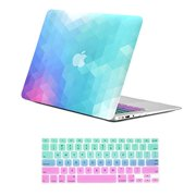 """Unik Case-2 in 1 Bundle Deal Gradient Ombre Triangular Galore Graphic Matte Rubberized Hard Shell Case & Fade Ombre Keyboard cover silicon skin for Apple Macbook Air 13.3"""" Model: A1369 & A1466"""