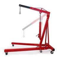 Stark 2Ton Engine Hoist Stand Cherry Picker Ship Crane Lift Workshop Foldable Stand, Red