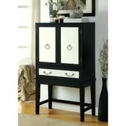 Furniture of America Hifferon Contemporary Mirrored Wine Cabinet, Black