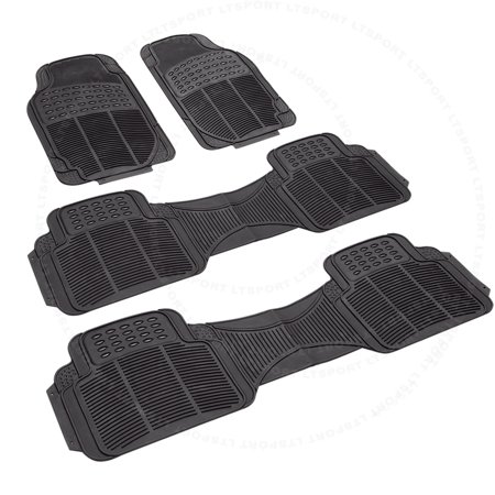 Fit 95-14 HONDA ODYSSEY 3-ROW FRONT & REAR BLACK RUBBER FLOOR WATERPROOF  MATS Fit Chevrolet Honda Hyundai Astro Avalanc