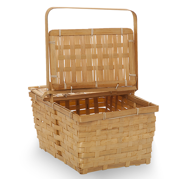 Rectangular Bamboo Weave Picnic Basket with Lid Med - Honey 11in