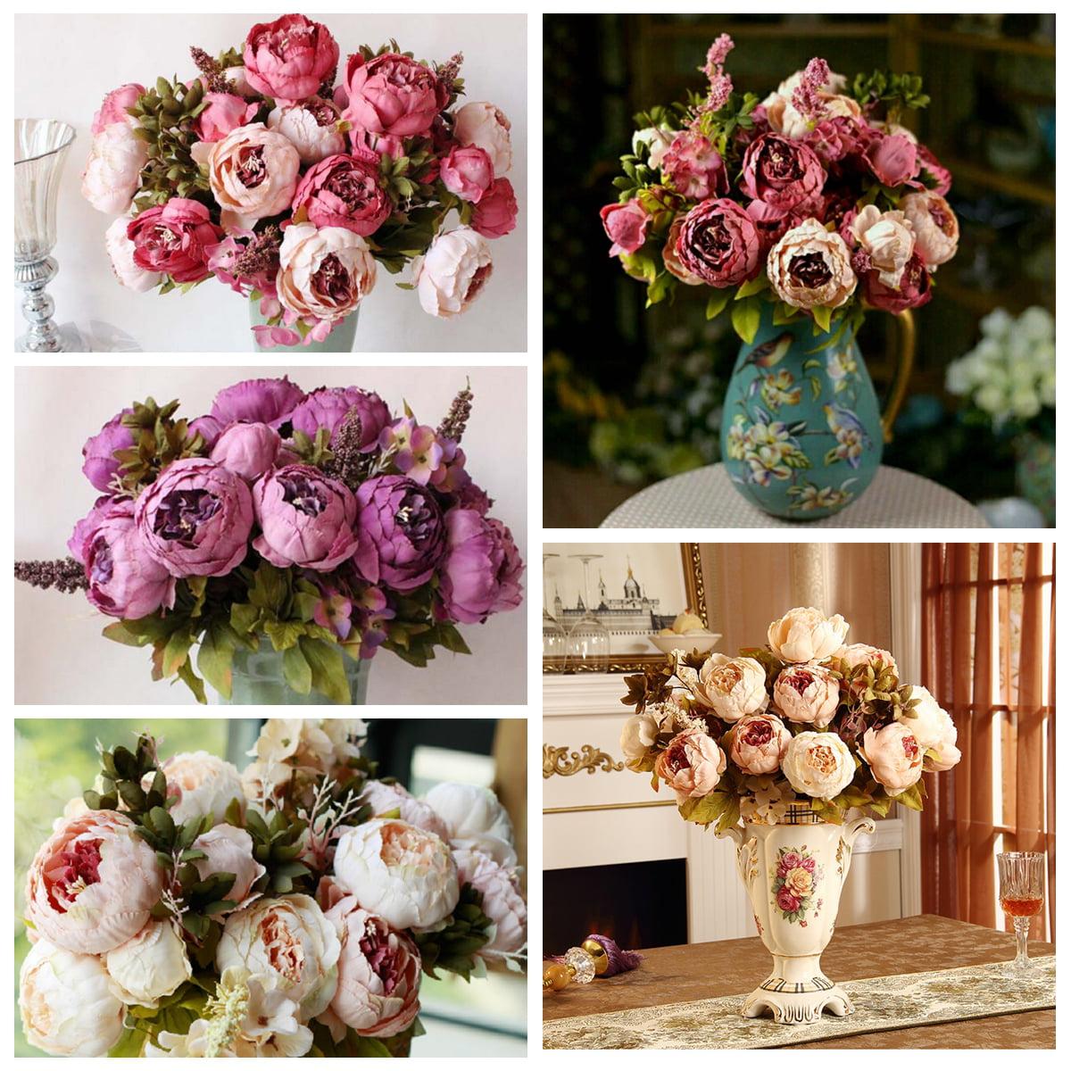 1 Bouquet Vintage Artificial Peony Silk Flowers 6 Heads Bouquet Wedding Bridal Party Garden Decoration