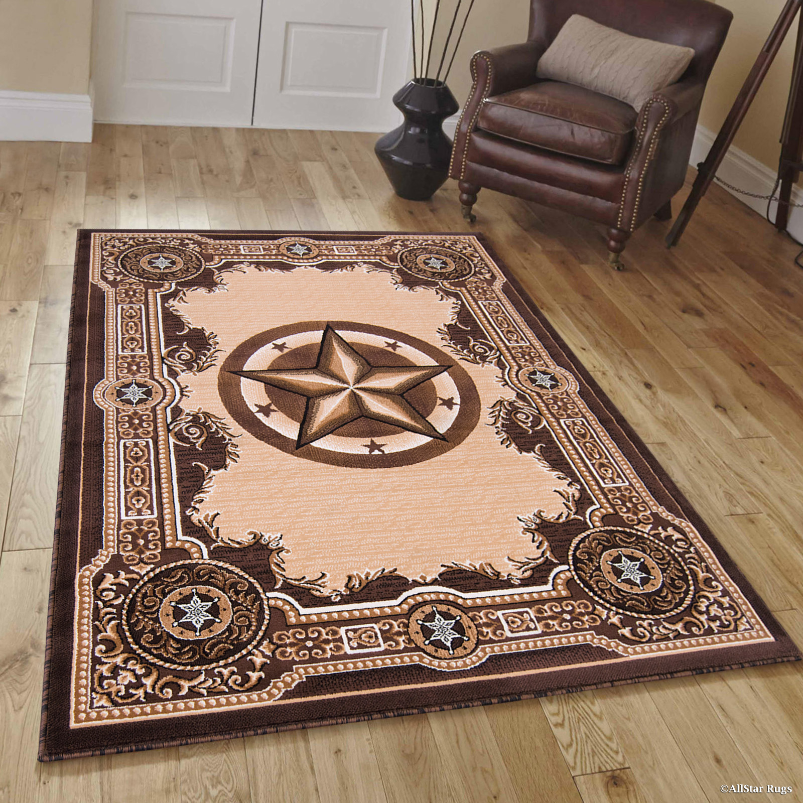 High Quality Texas Star, Cowboy, Western, Woven Area Rug, Drop-Stitch Weave Technique with Carve Effect (5'... by