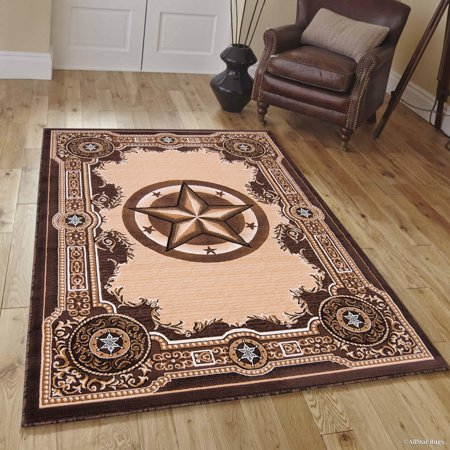 High Quality Texas Star, Cowboy, Western, Woven Area Rug, Drop-Stitch Weave Technique with Carve Effect (5' 2