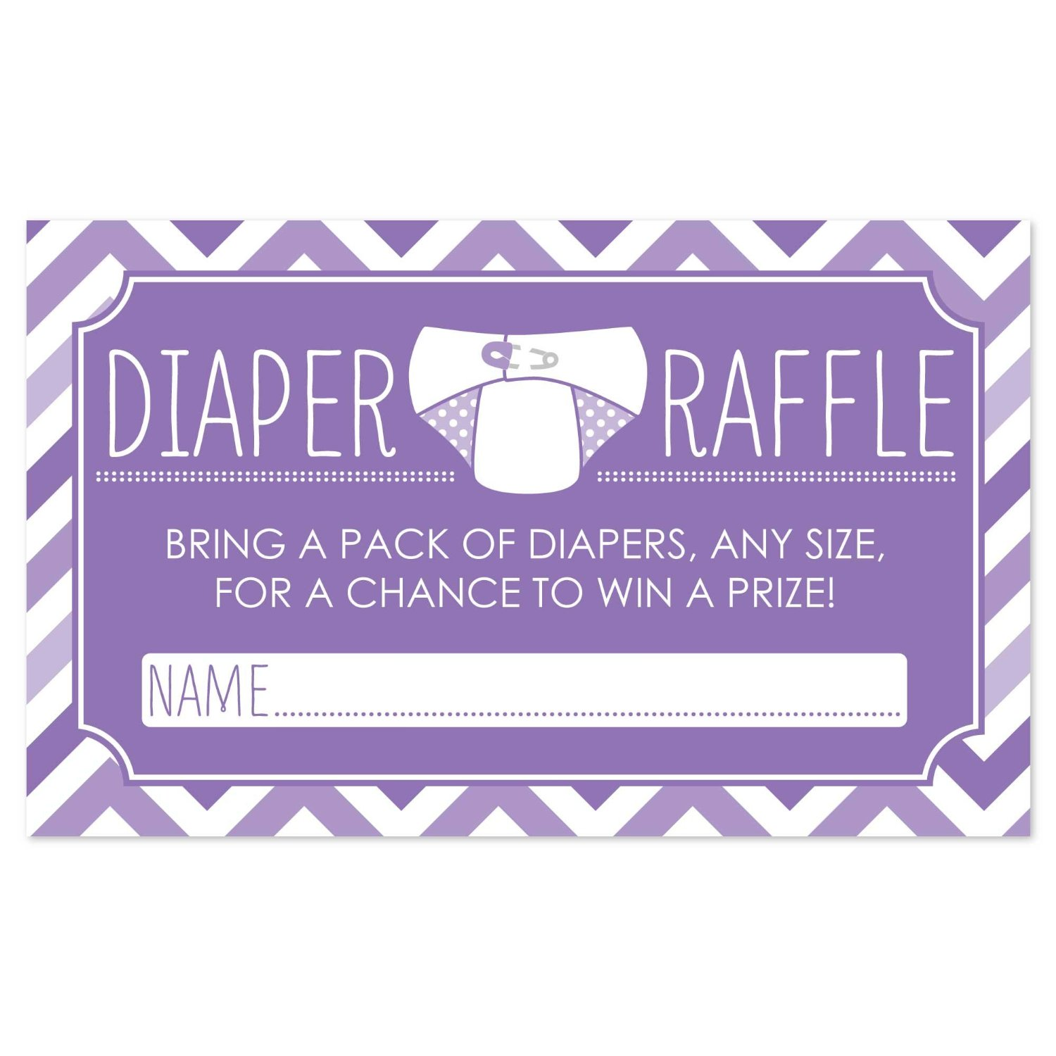 Diaper Raffle Baby Shower Game in Purple - 18 Count