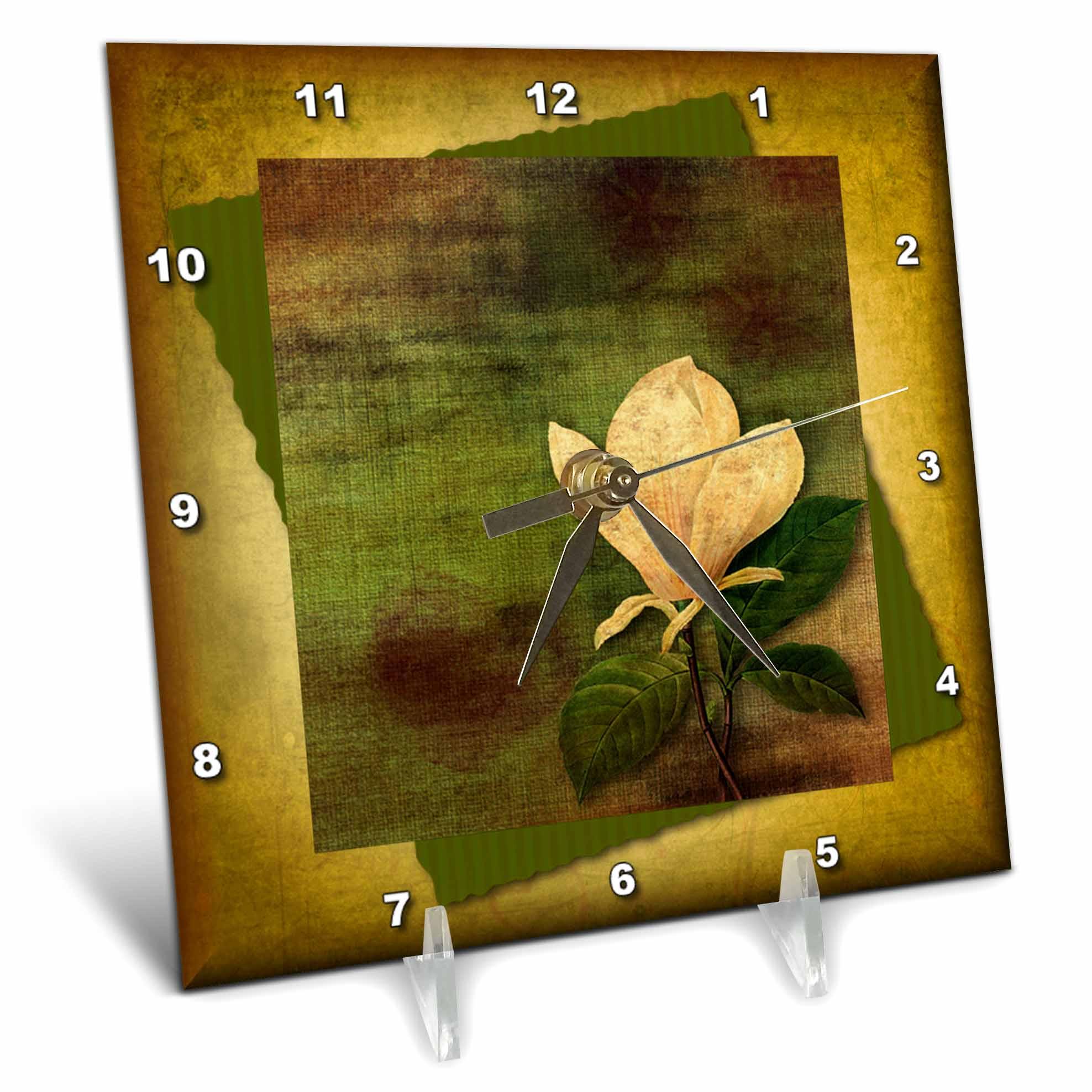 3dRose Vintage Magnolia, Desk Clock, 6 by 6-inch by 3dRose