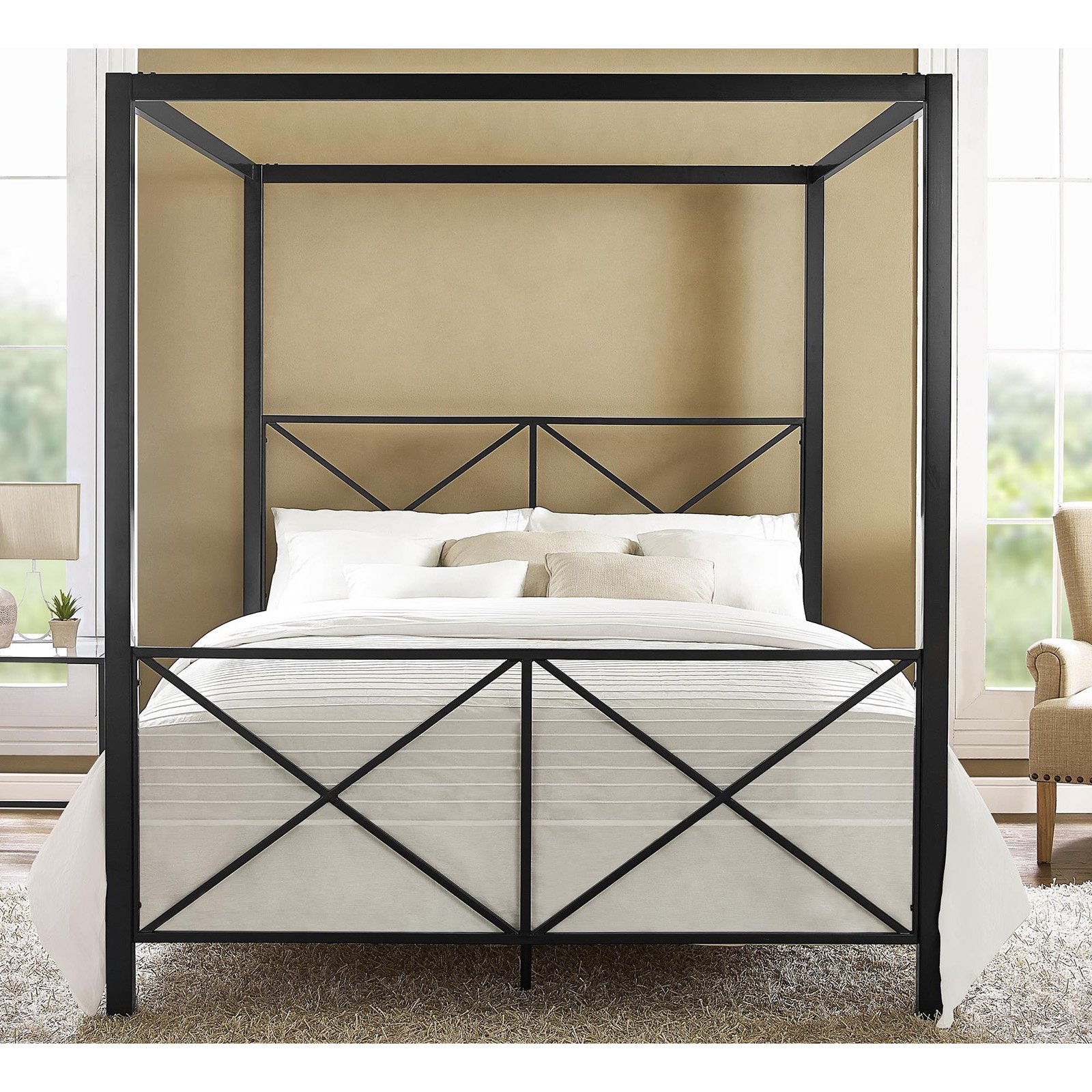 DHP Rosedale Metal Canopy Bed, Queen Size, Multiple Colors by Dorel Home Products