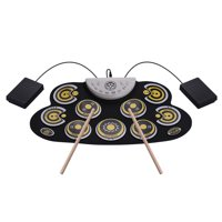 Portable Silicone Drum Pad Electronic Roll Up Drum Set with Drum Sticks Foot Pedals Cartoon Design Digital Drum for Kids Beginners