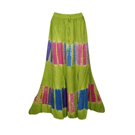 Gypsy Maxi - Mogul Womens Green Tie Dye A-Line Gypsy Long Skirt Rayon Summer Style Hippie Chic Boho Maxi Skirts