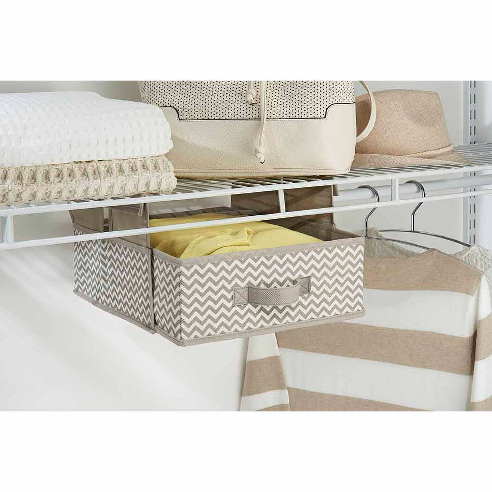 InterDesign Axis Hanging Shelf with Drawer, Chevron