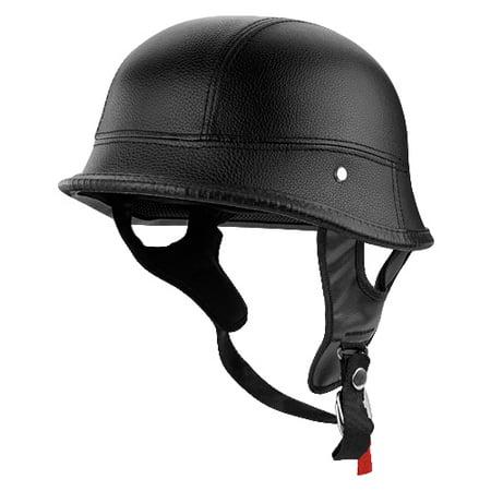 German Style Motorcycle Half Helmet Black Leather