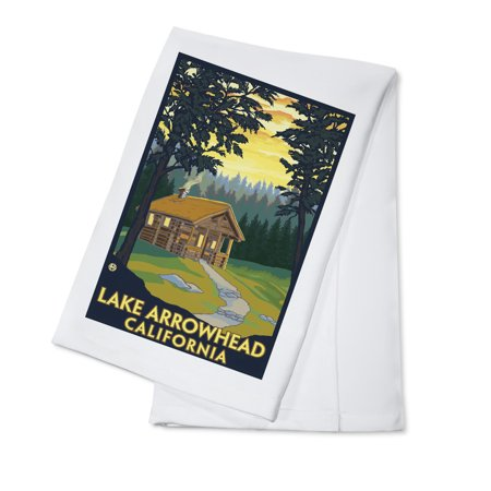 Lake Arrowhead  California  Cabin In The Woods   Lantern Press Artwork  100  Cotton Kitchen Towel