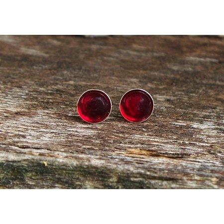 - Recycled World War II era Ruby Beeer Bottles Sterling Silver Post Earrings
