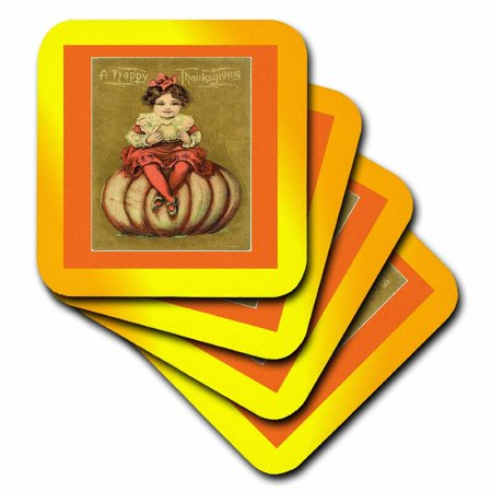 - 3dRose Print of Little Girl On Pumpkin With Happy Thanksgiving, Soft Coasters, set of 4