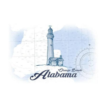 Orange Beach Alabama Lighthouse Blue Coastal Icon Print Wall Art By Lantern
