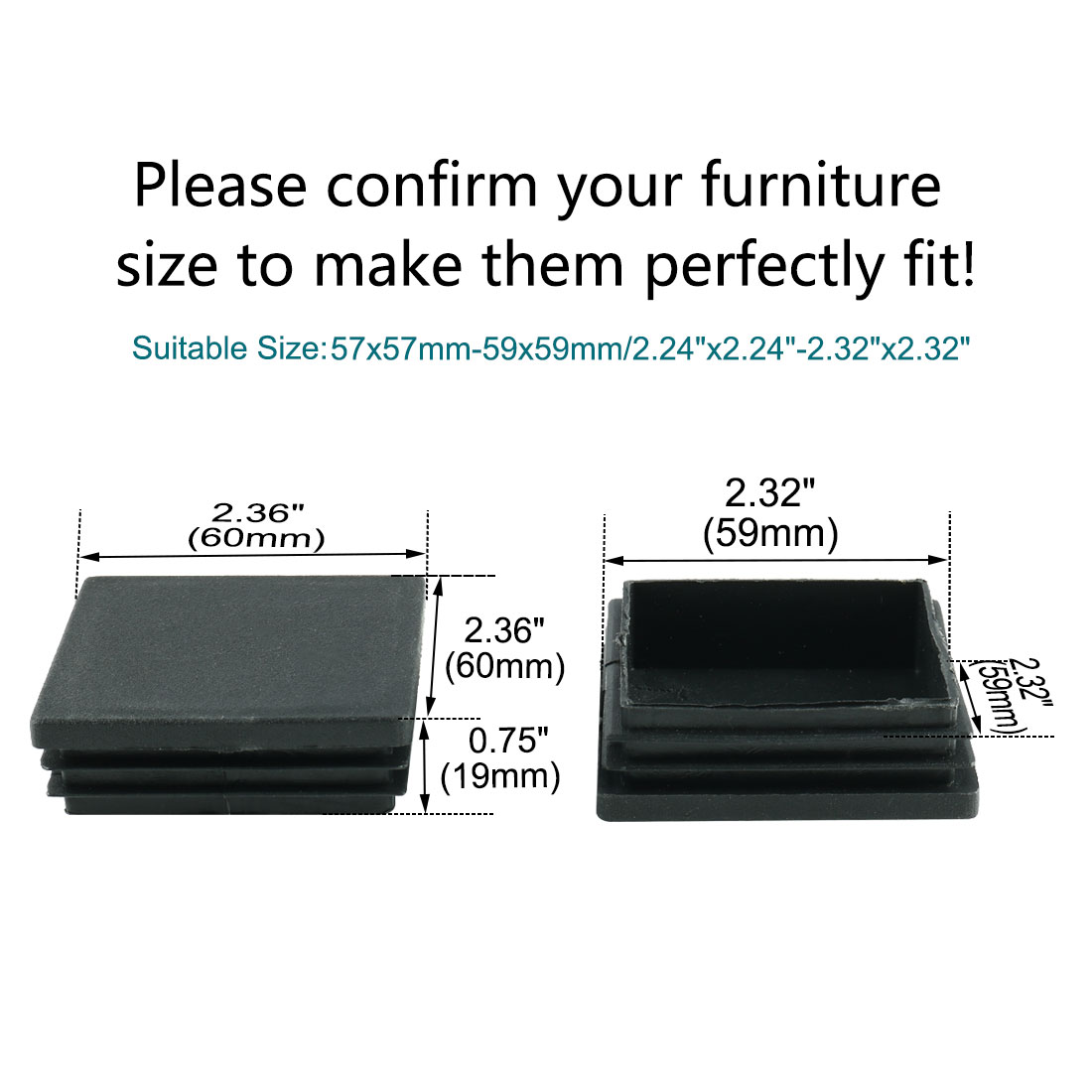 """Square Tube Insert Furniture Floor Protector for 2.24"""" to 2.32"""" Inner Size 21pcs - image 6 of 7"""
