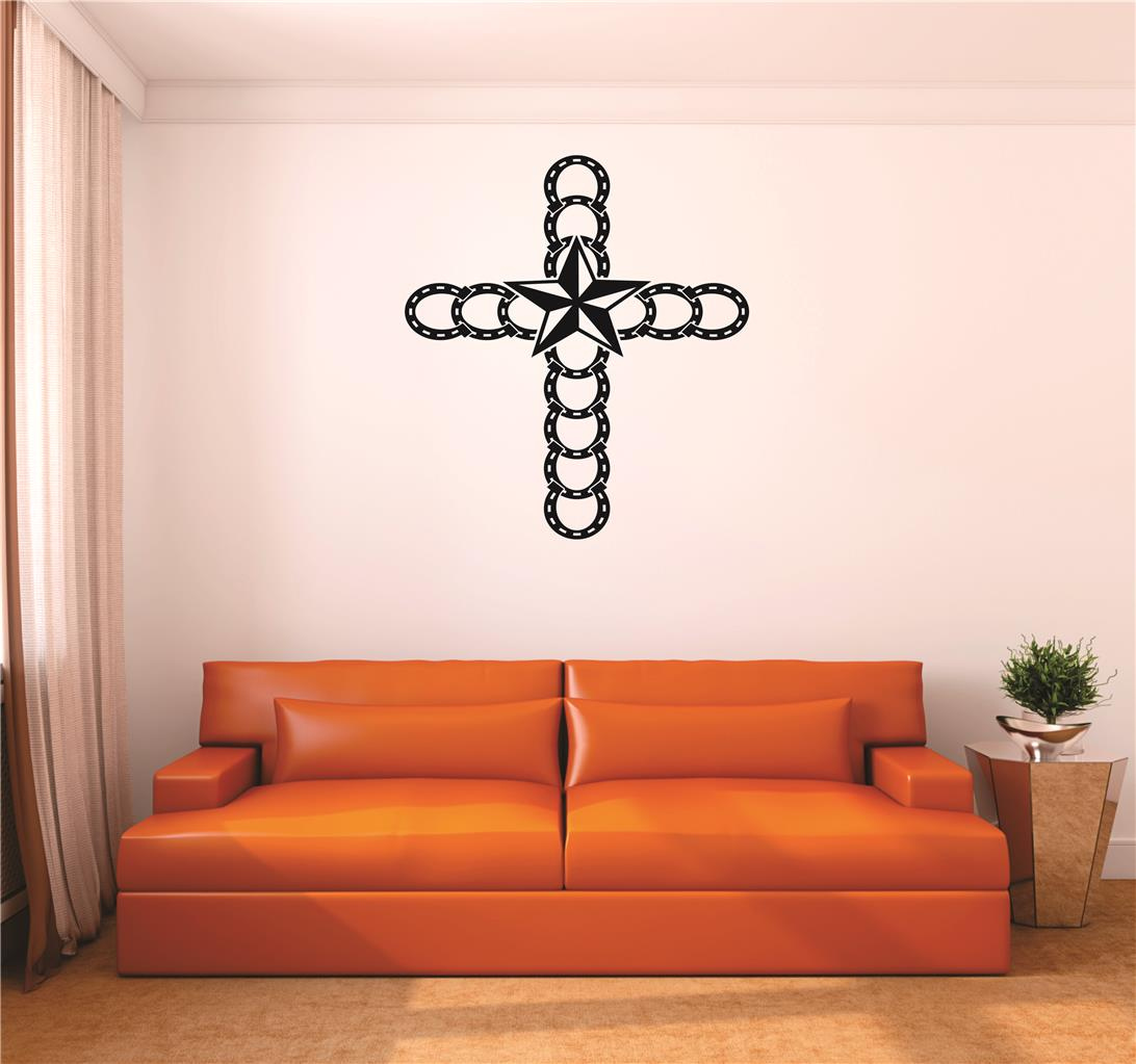 Wall Decal : Horseshoe Cross Western Star Cowboy Cowgirl Home Decor Living Room Bedroom Picture Art 20x20 Inches